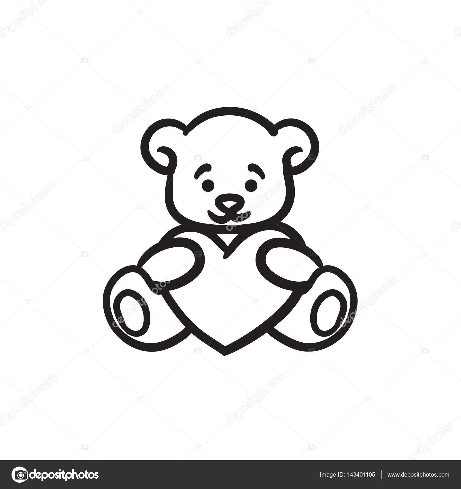 Teddybär mit Herz-Skizze-Symbol — Stockvektor © rastudio #143401105