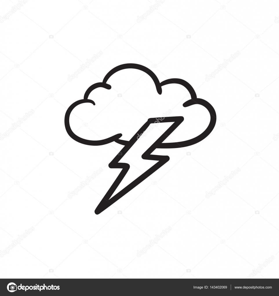 Cloud And Lightning Bolt Sketch Icon Stock Vector C Visualgeneration 143402069