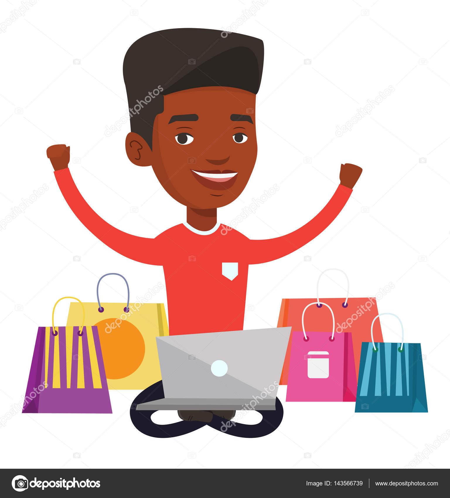 3343bcfc04549 Homme afro-américain avec les mains à l aide d ordinateur portable pour  faire du shopping en ligne. Homme assis avec des sacs à provisions autour  de lui et ...
