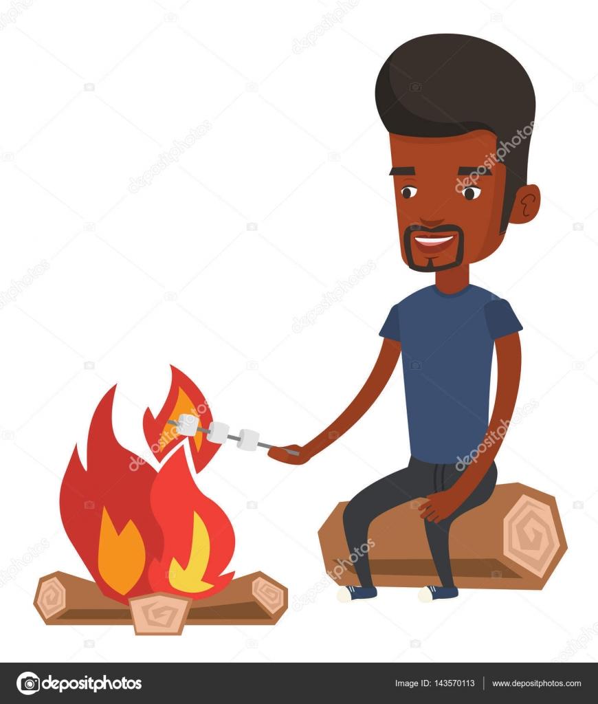Man Roasting Marshmallow Over Campfire Stock Vector