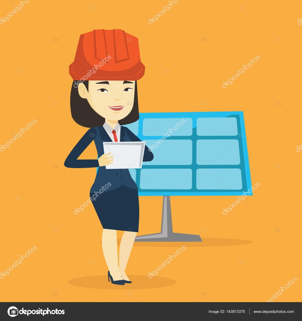 Asian Worker Of Solar Power Plant Stock Vector Rastudio 143813375 Engineering Layout Engineer Working On Digital Tablet At With Computer In Hard Hat Checking Panel Setup