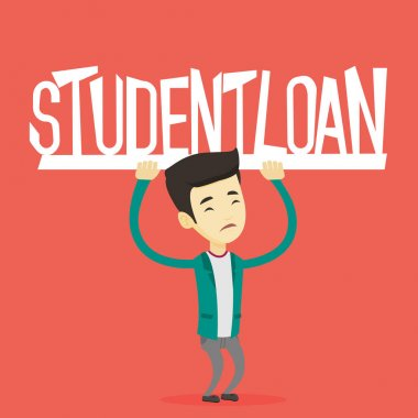 Young man holding sign of student loan.