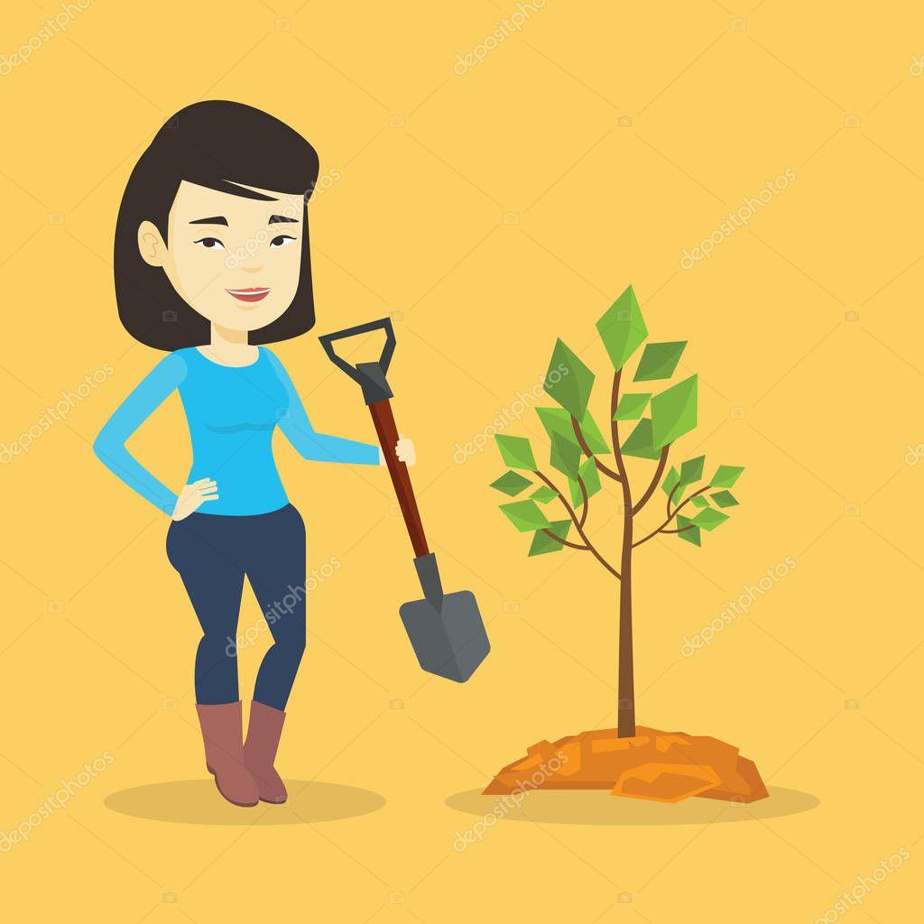 Woman plants tree vector illustration.