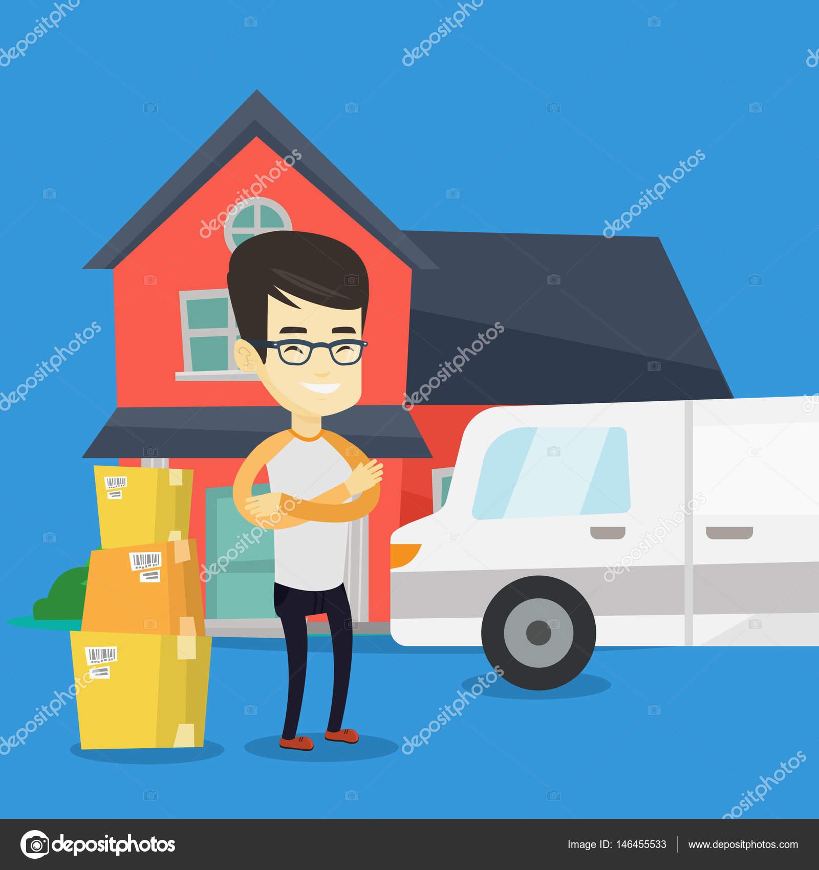 Mann nach Haus-Vektor-illustration — Stockvektor © rastudio #146455533