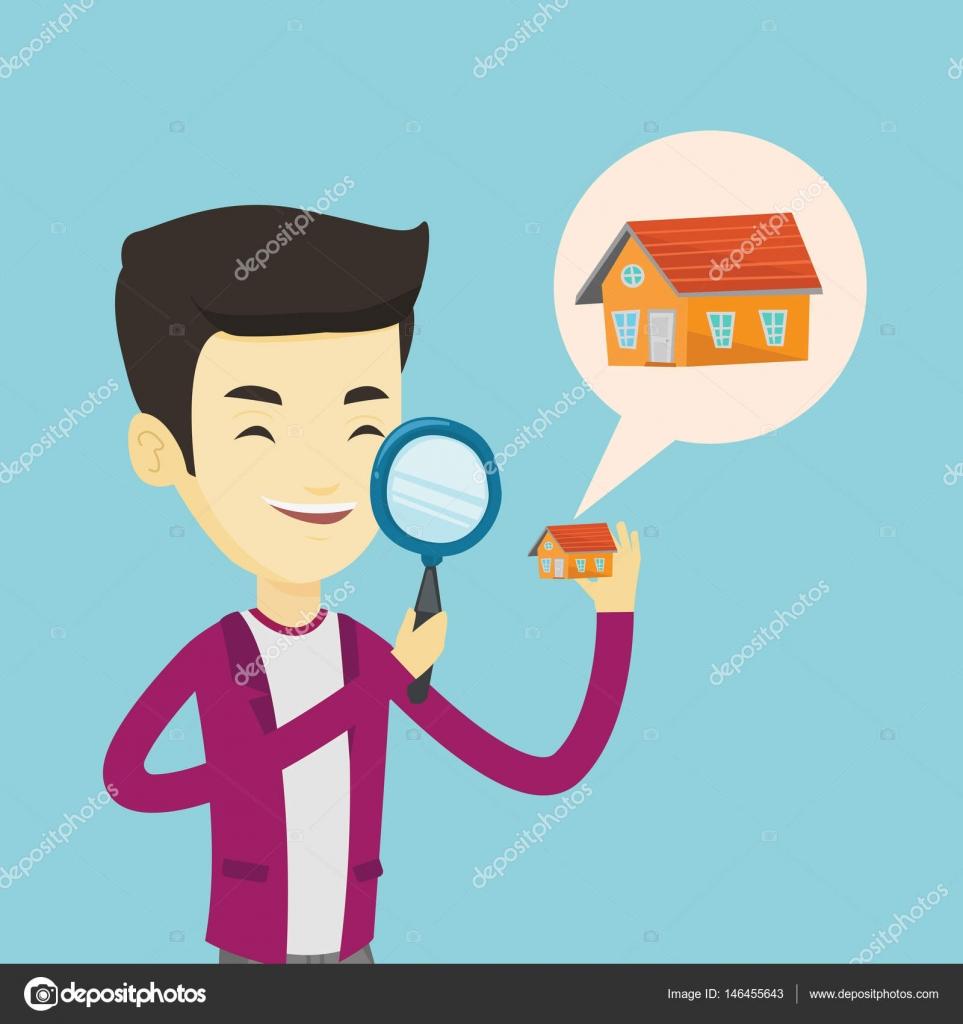 Mann auf der Suche nach Haus-Vektor-illustration — Stockvektor ...