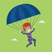 Mladá šťastná žena létání s padákem