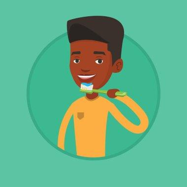 Man brushing her teeth vector illustration.