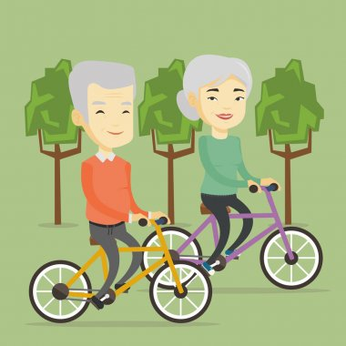 Senior couple riding on bicycles in the park