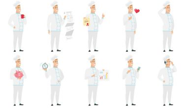 Vector set of illustrations with chef characters.