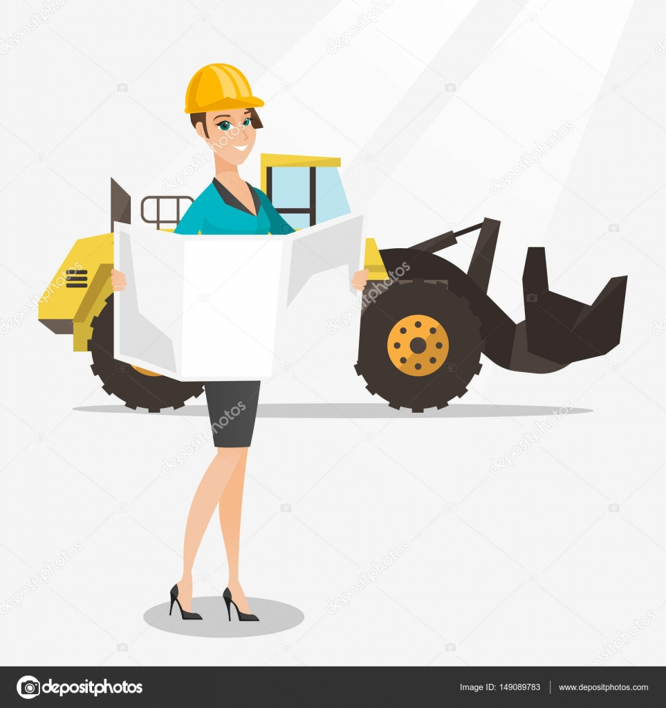 Engineer watching a blueprint vector illustration stock vector engineer watching a blueprint at construction site engineer with engineer blueprint standing on the background of excavator engineer holding blueprint malvernweather Image collections