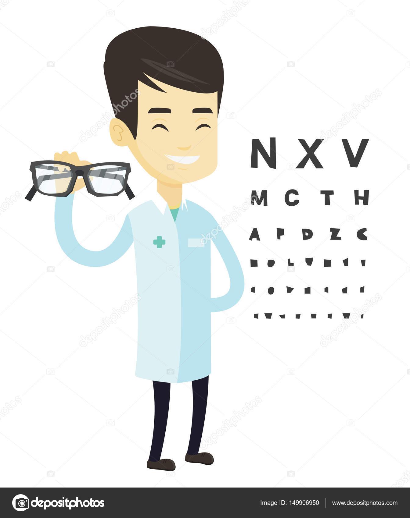 3959301e7700f3 Ophtalmologiste asiatique donnant des verres. Ophtalmologiste tenant des  lunettes sur l arrière-plan du diagramme de le œil.