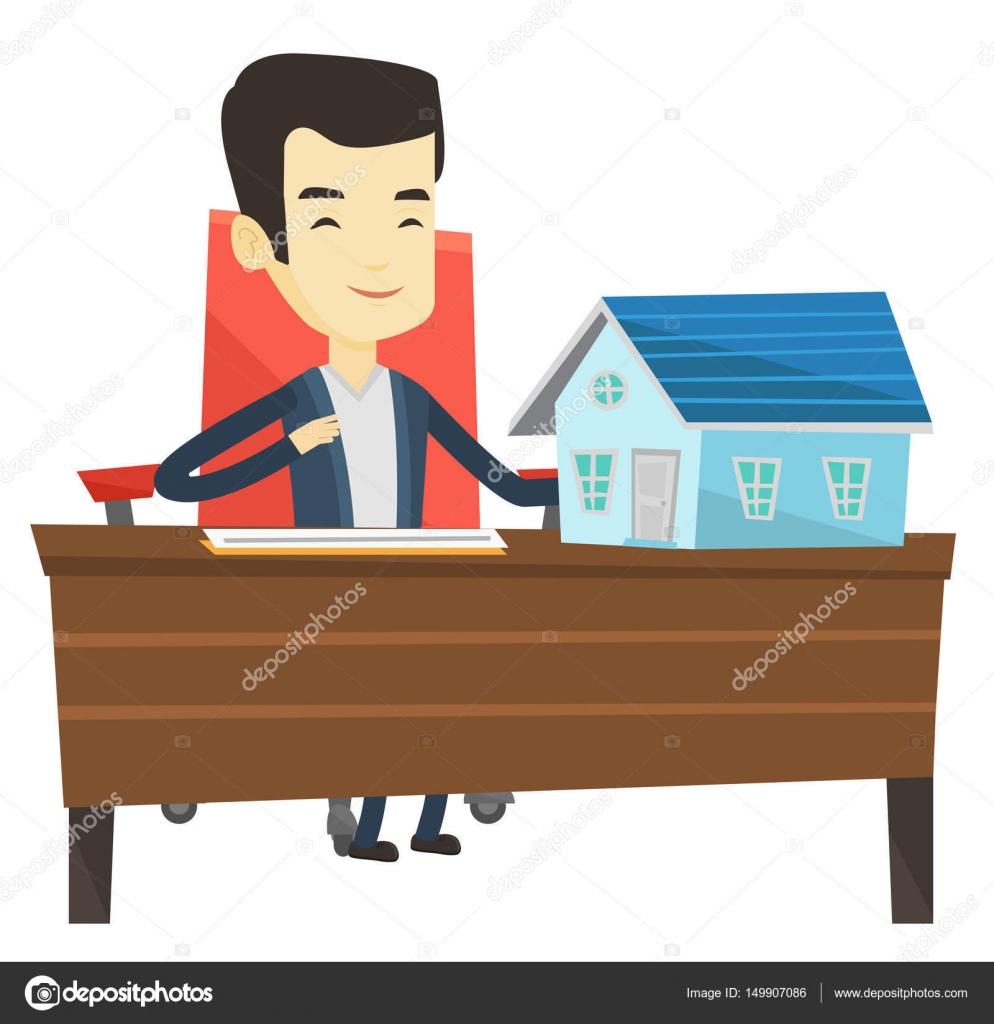 Firma contrato de agente de bienes raíces — Vector de stock ...