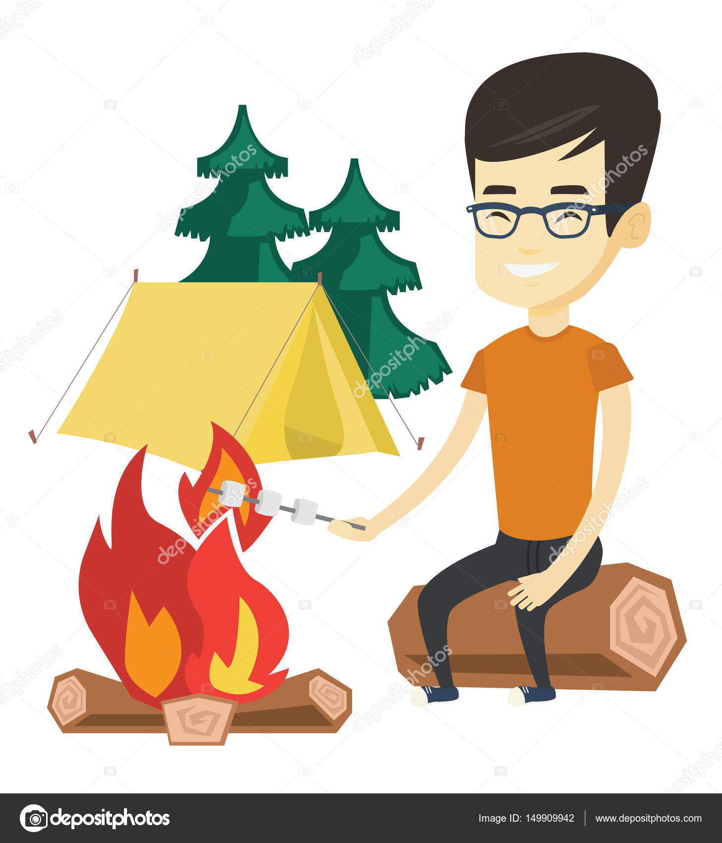 Asian Man Sitting On A Log Near Campfire With Marshmallow Traveler Roasting Over Tourist Relaxing