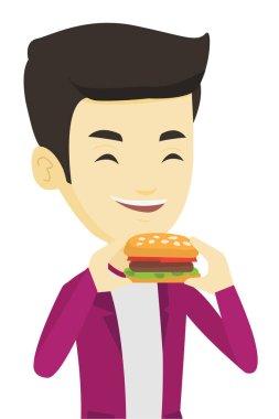 "Картина, постер, плакат, фотообои ""человек ест векторную иллюстрацию гамбургеров ."", артикул 149902986"