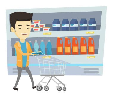 Customer with shopping cart vector illustration.