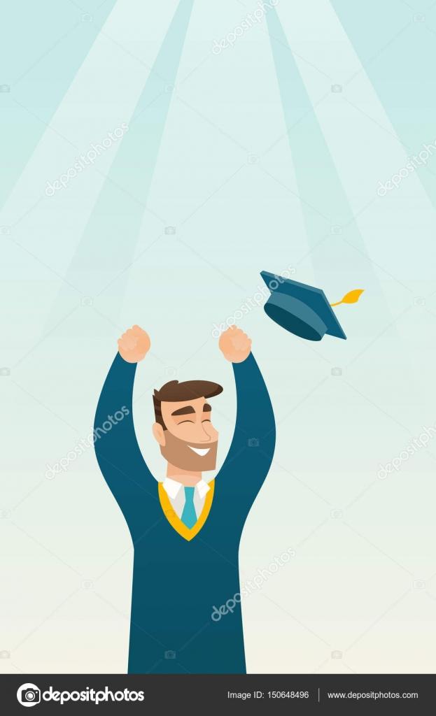 Diplom Abschluss Hut Werfen Stockvektor Rastudio 150648496