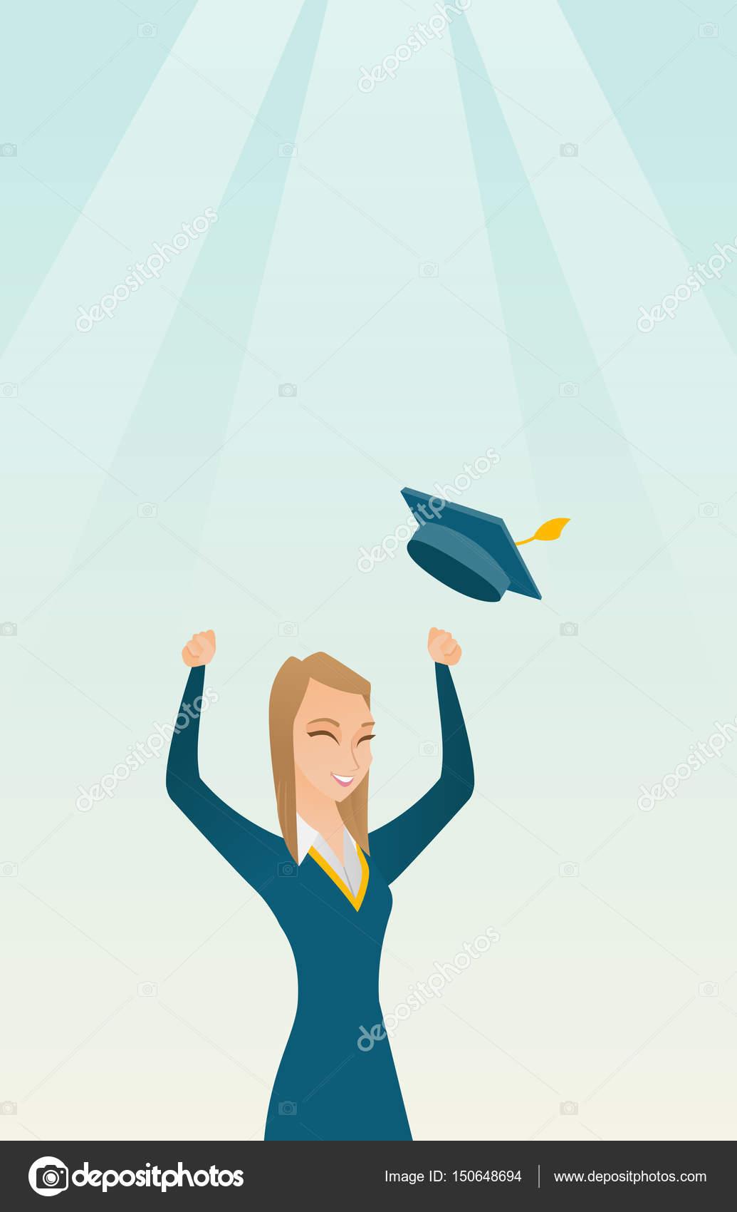 Diplom Abschluss Hut Werfen Stockvektor Rastudio 150648694