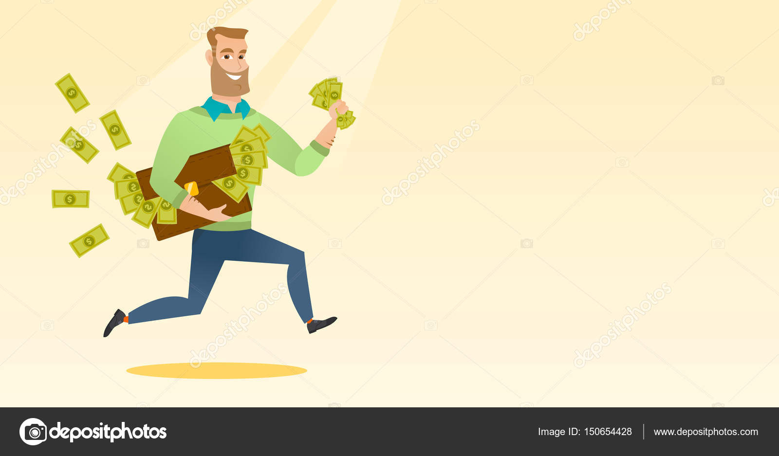 Business woman with briefcase full of money  — Stock Vector