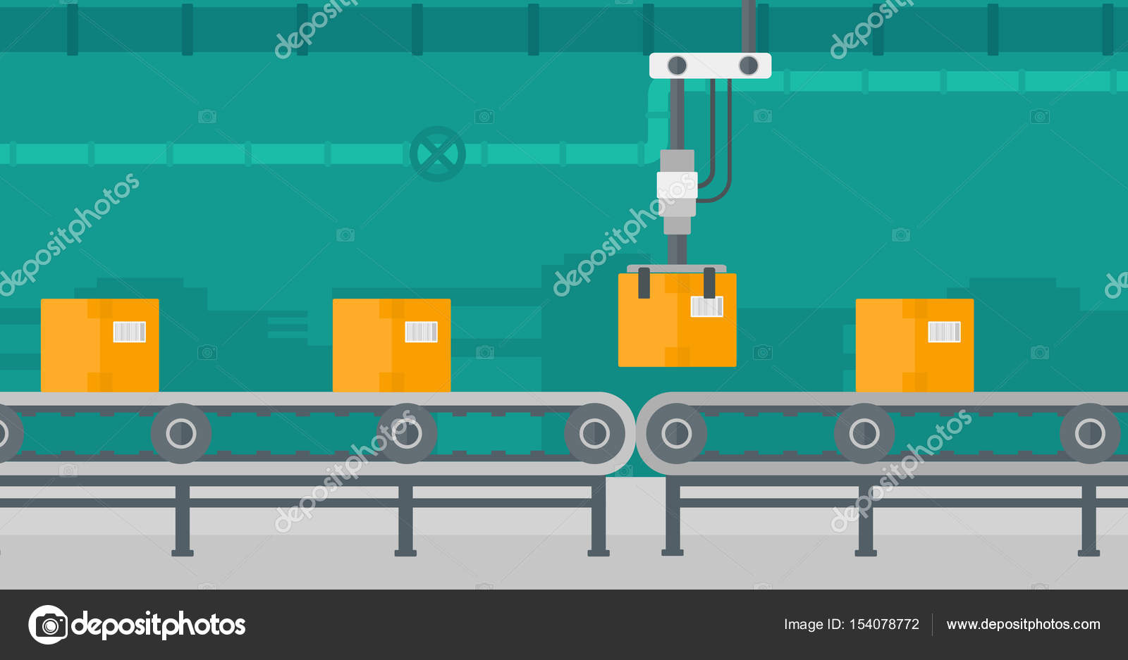 Packaging Of Products In Cardboard Boxes Robotic Arm Working On Conveyor Belt Vector Flat Design Illustration Horizontal Layout By Rastudio