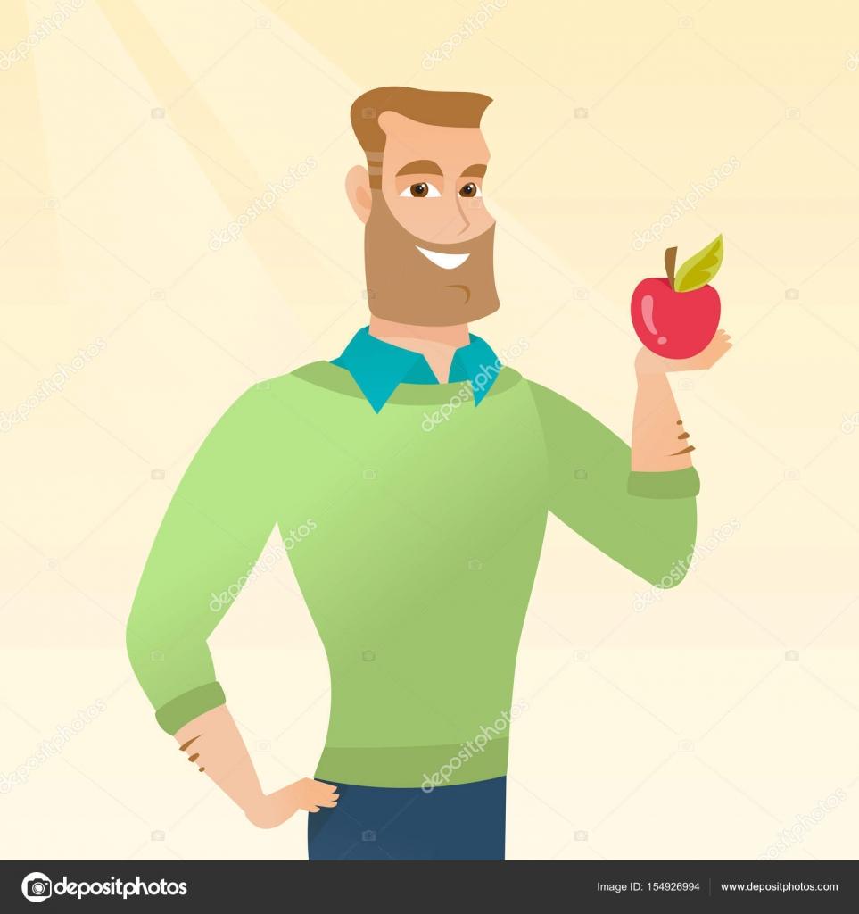 Joven sosteniendo una ilustración vectorial de manzana — Archivo ...