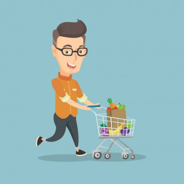 Man running with a trolley full of purchases.