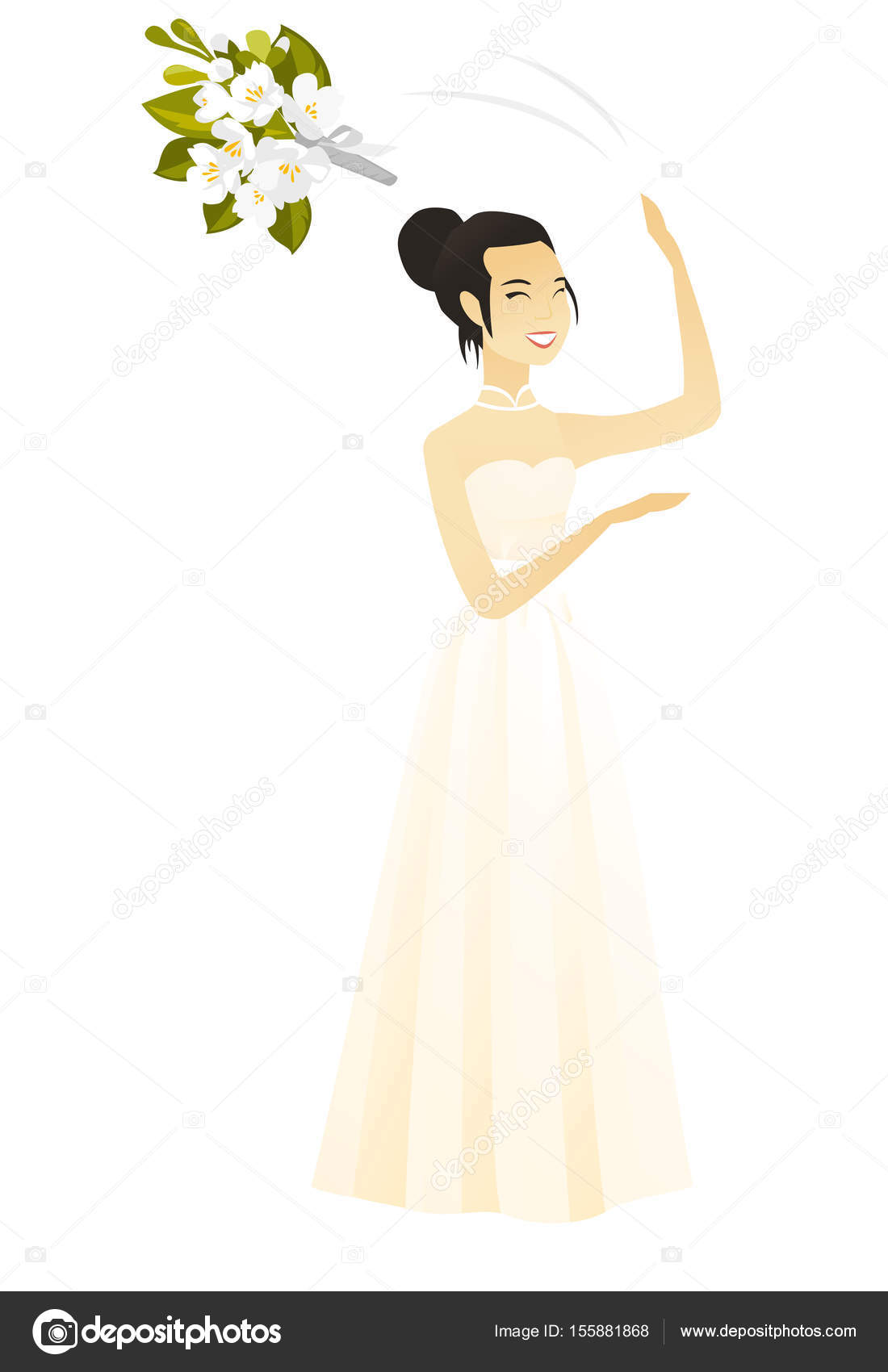 Asian bride tossing a bouquet of flowers stock vector rastudio asian bride tossing a bouquet of flowers stock vector izmirmasajfo