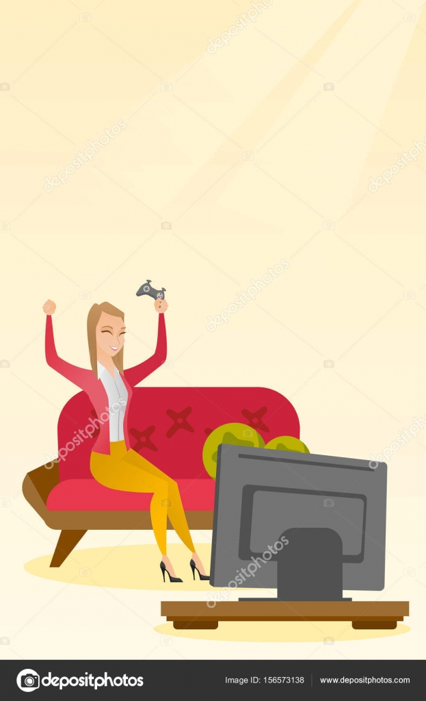 Woman playing a video game vector illustration. — Stock Vector ...