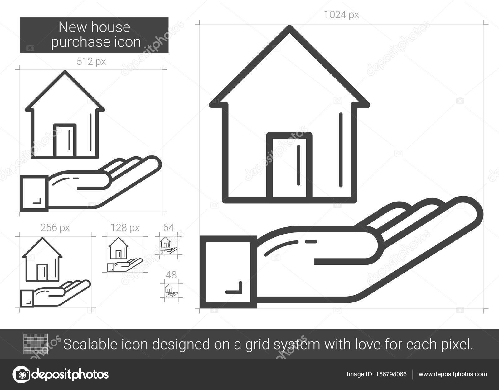 Neue Haus Kauf Liniensymbol — Stockvektor © rastudio #156798066