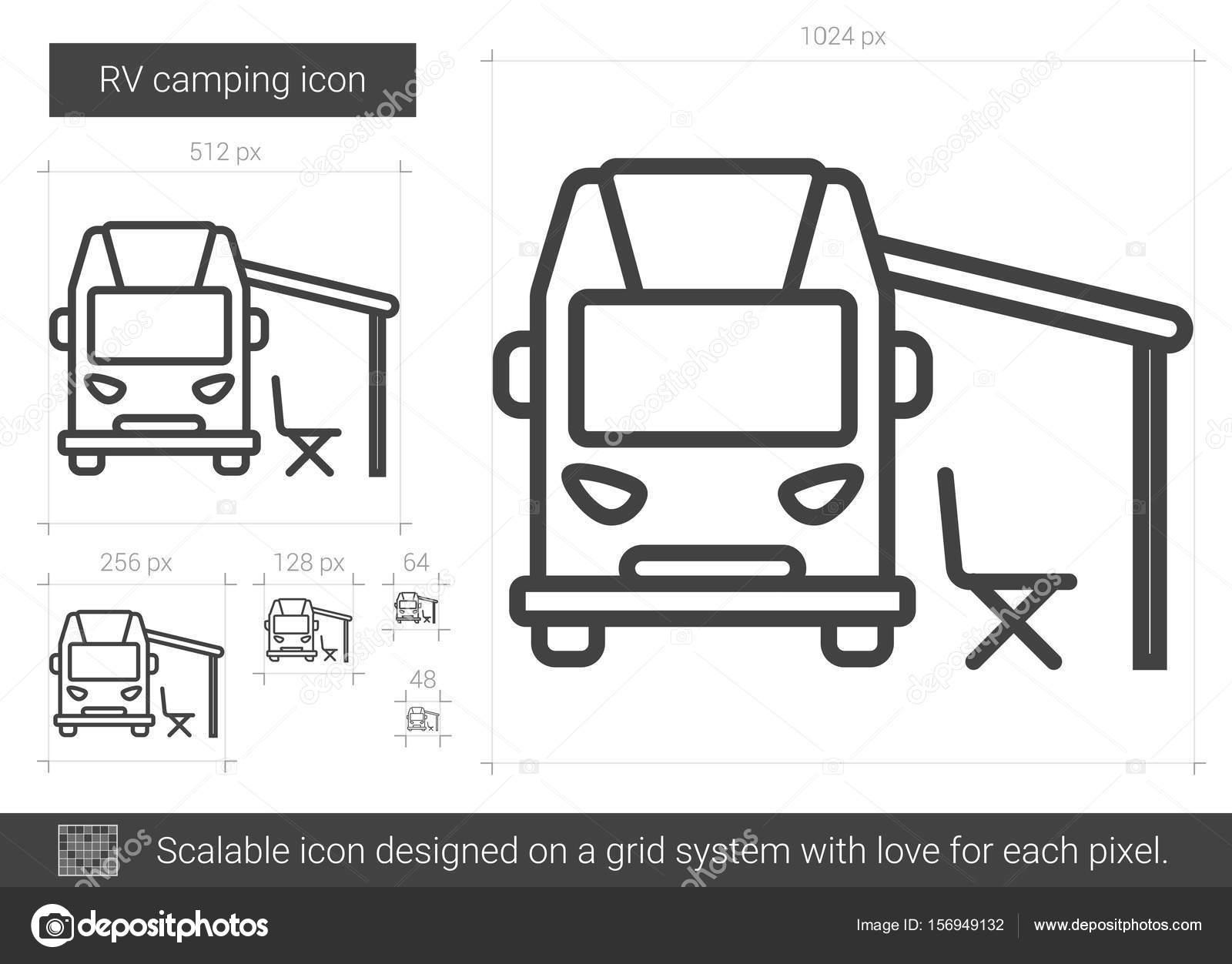 RV Camping Line Icon Stock Vector