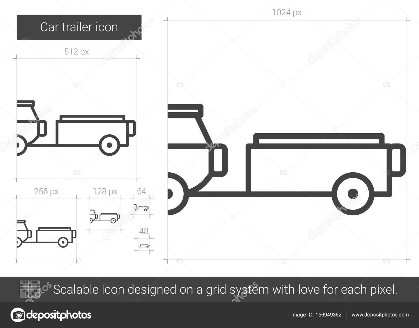 Icono de línea de remolque de coche — Vector de stock © rastudio ...