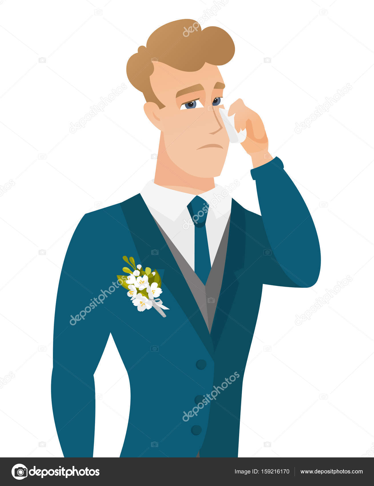 Young caucasian groom crying. — Stock Vector © rastudio #159216170