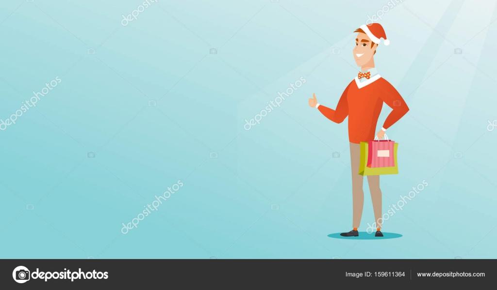 Mann in Nikolausmütze für Weihnachtsgeschenke einkaufen ...
