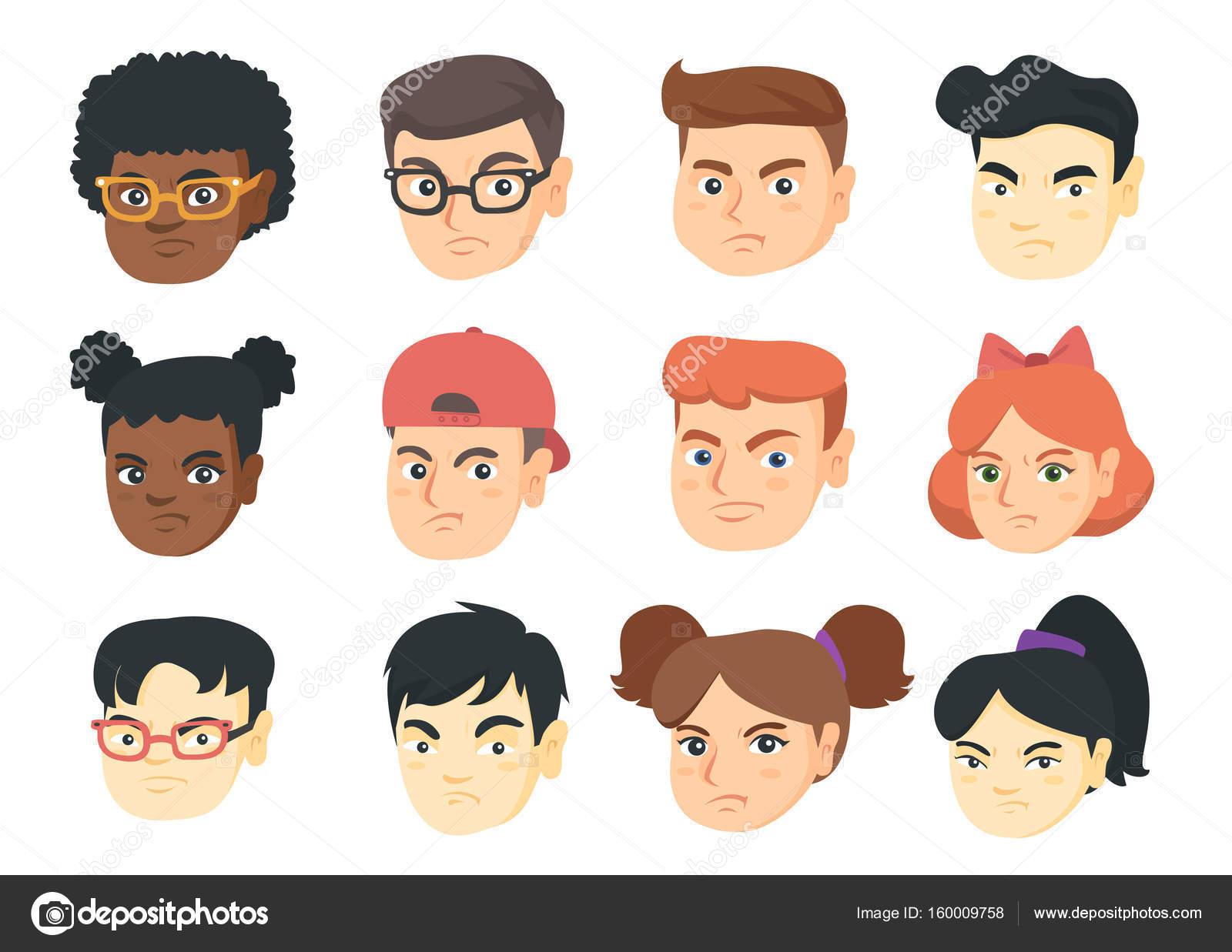 Conjunto De Vectores De Dibujos Animados Enojado Emoji De