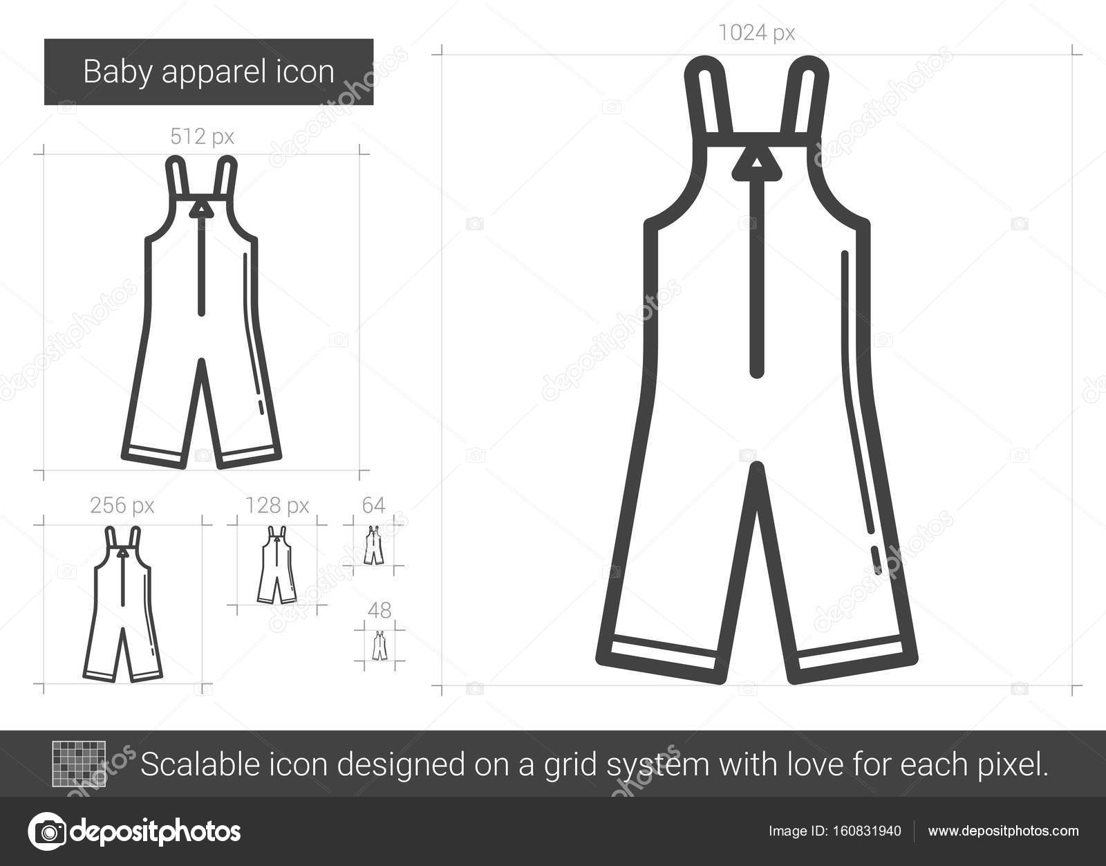 12dc99d5bef00 Bébé vêtements vecteur ligne icône isolé sur fond blanc. Icône de ligne de vêtements  bébé pour infographie