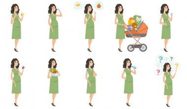 Caucasian pregnant woman vector illustrations set.