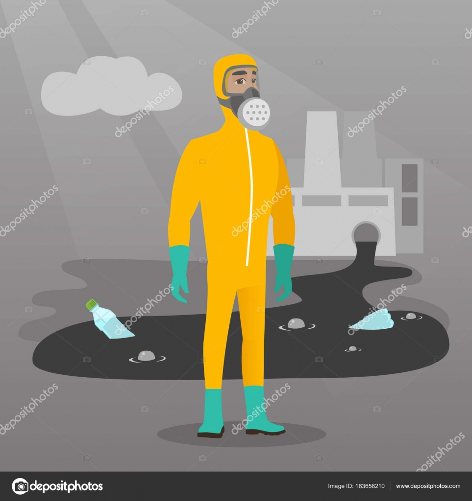 Scientist Wearing Radiation Protection Suit Stock Vector Nuclear Power Plant Diagram Animation Caucasian Man In Gas Mask And Protective Standing On The Background Of