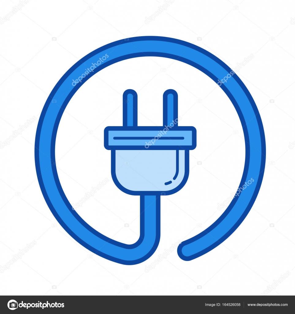 Elektrische Stecker Liniensymbol — Stockvektor © rastudio #164526058