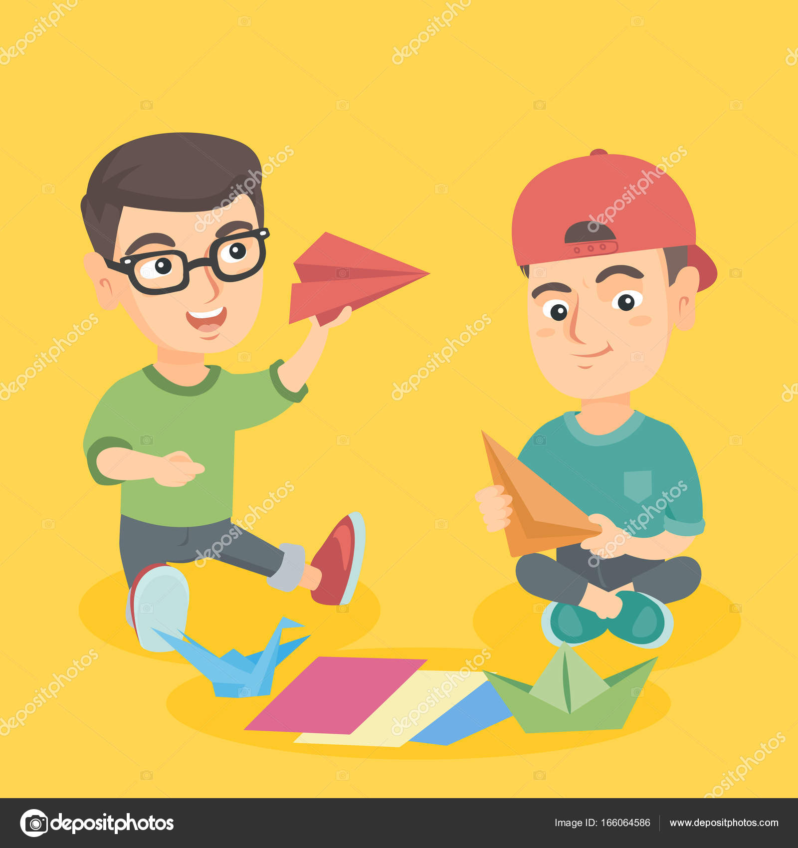 Caucasian Children Folding Paper And Making Origami Toys Friends Playing With Plane Boat Bird Creativity Craft Concept