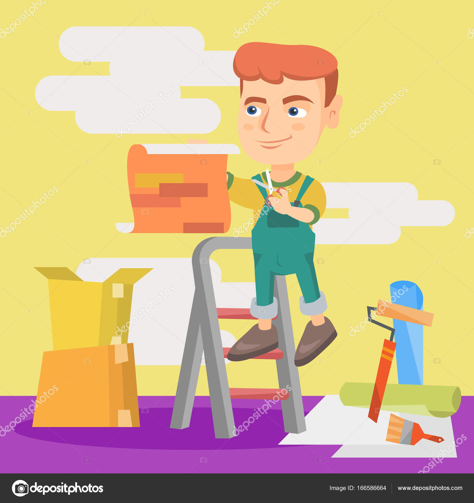 Caucasian boy attaching wallpaper to the wall. — Stock Vector ...