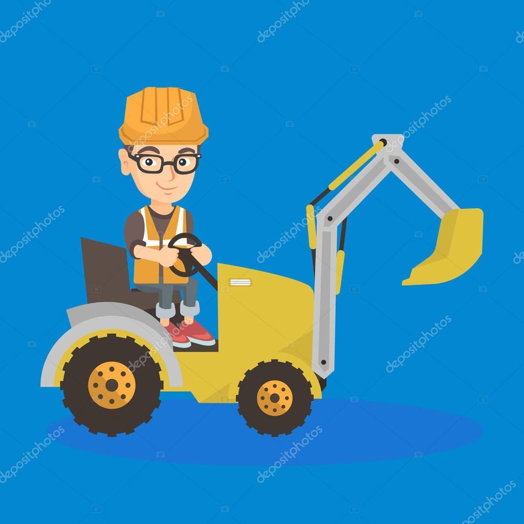 little caucasian builder kid driving an excavator.