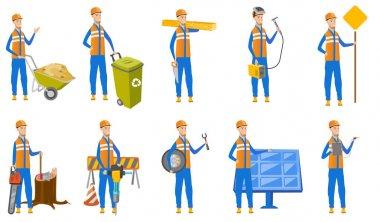 Caucasian builder vector illustrations set.