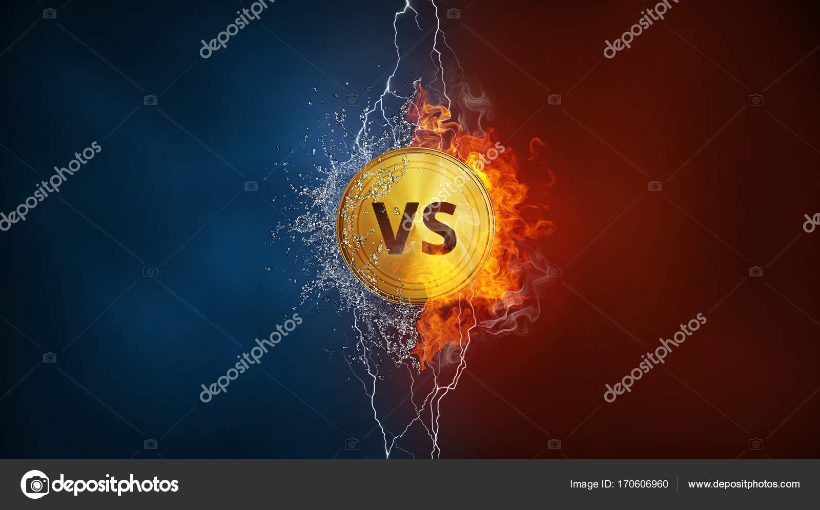 Versus Vs Sign In Fire Water Splashes And Lightning Stock