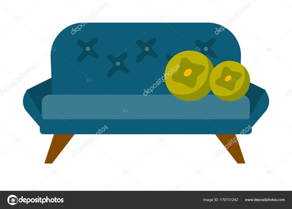 Blauen Weichen Sofa Mit Kissen Vektor Cartoon Illustration Isoliert Auf  Weißem Hintergrund. Möbel Für Haus Und Büro U2014 Vektor Von Rastudio