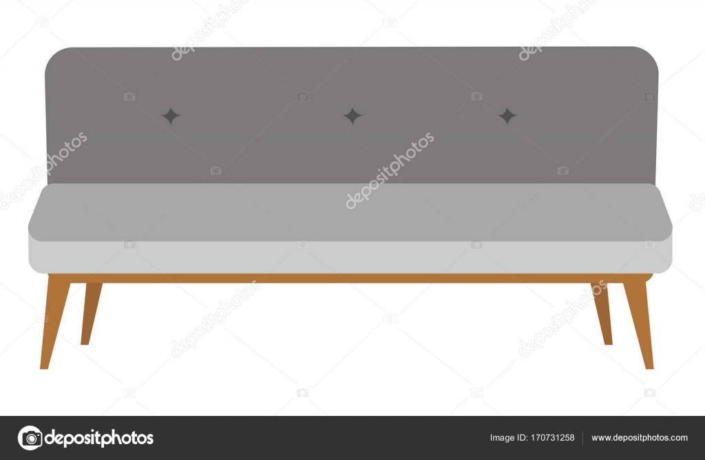 Ilustración de dibujos animados de vector moderno sofá gris — Vector ...