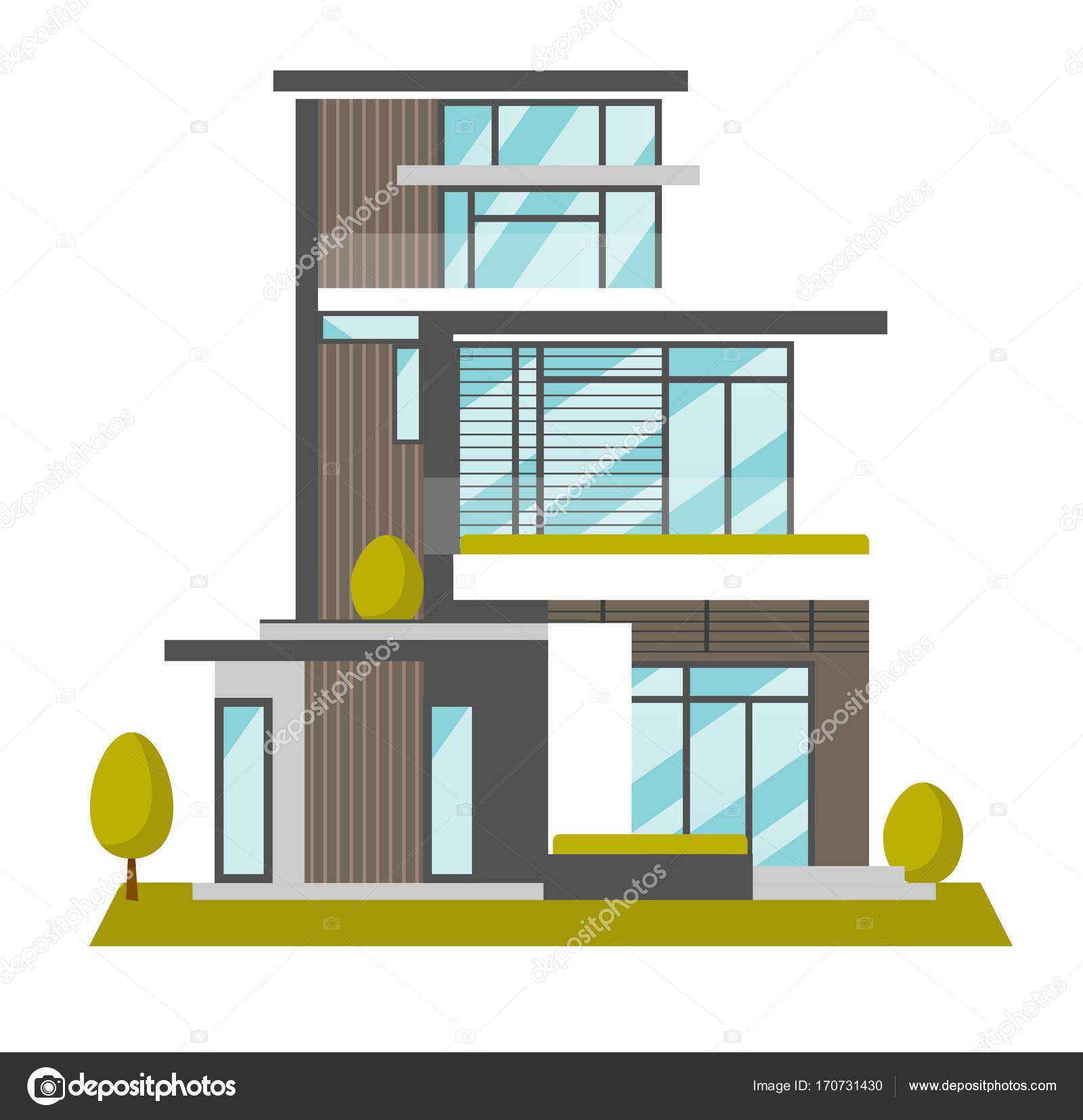 Ilustraci n de dibujos animados de vector de casa moderna for Casa moderna vector