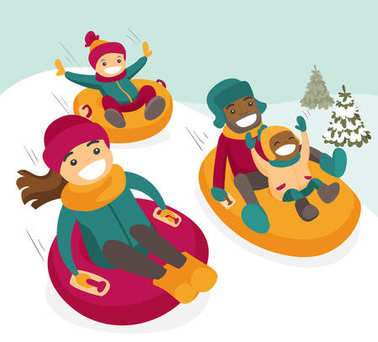 Multiethnic family sliding down the hill on tubes in winter park. African father and Caucasian mother with mulatto kids enjoying a ride on inflatable sledges. Vector isolated cartoon illustration. stock vector