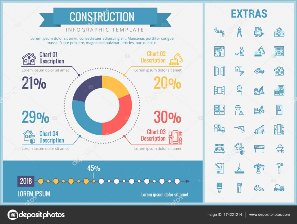 Construction infographic template and elements stock vector construction infographic template elements and icons infograph includes customizable pie chart graph line icon set with construction worker ccuart