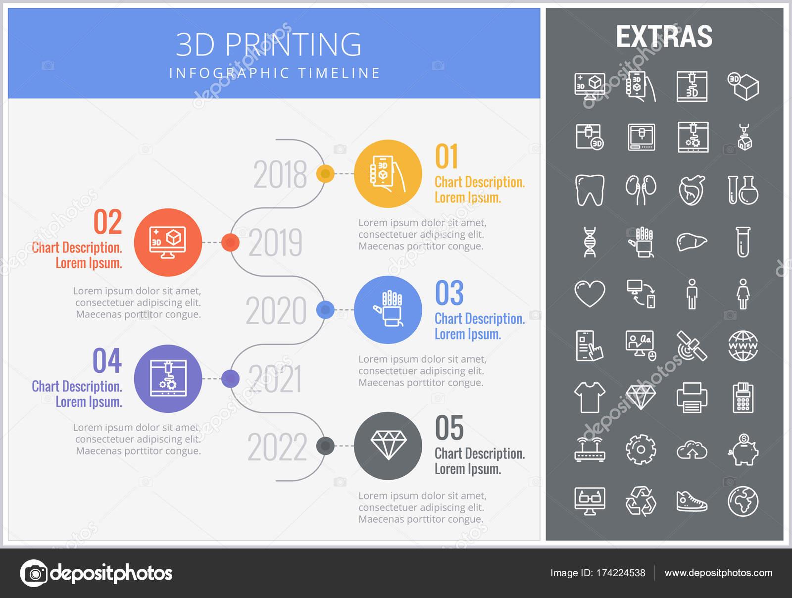 elementos y 3d impresión plantilla de infografía — Archivo Imágenes ...