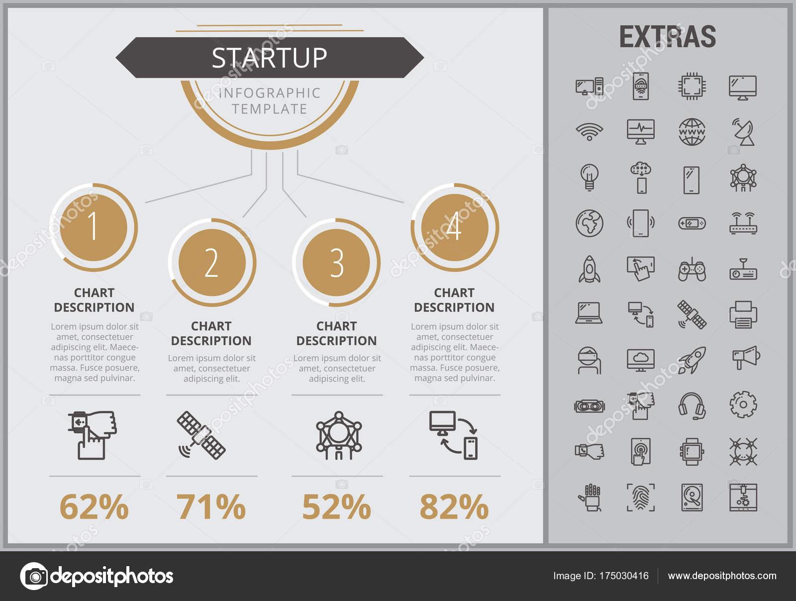 Los iconos, los elementos y plantilla de infografía Inicio — Vector ...