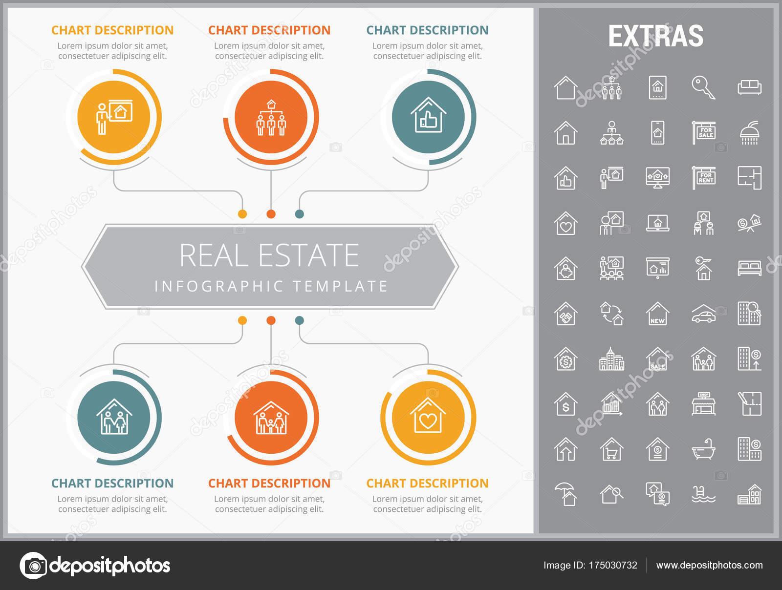 Immobilien-Infografik-Vorlage, Elemente, Symbole — Stockvektor ...